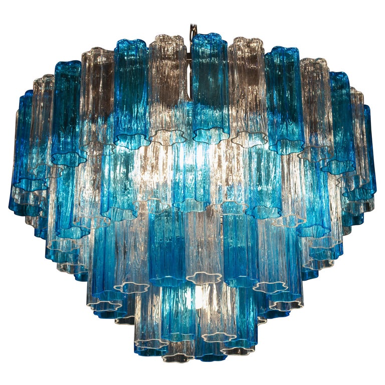 Turquoise and Clear Murano Glass Tronchi Chandelier Ceiling Light For Sale