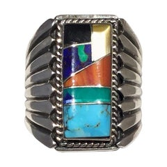Turquoise and Coral Inlay Native American Sterling Silver Ring