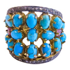 Turquoise and Diamond 14 Karat Gold Plated on Sterling  Silver Ladies Ring