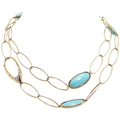 Turquoise and Diamond 18 Carat Yellow Gold Necklace
