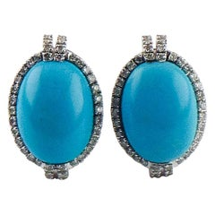 Turquoise and Diamond 18 Karat White Gold Earrings with Omega Backs