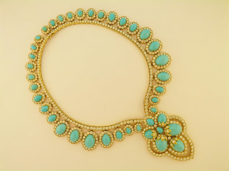 Turquoise and Diamond 18 Karat Yellow Gold Set For Sale 5