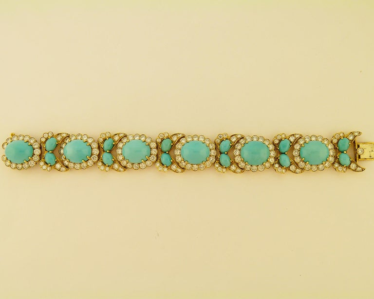 Women's or Men's Turquoise and Diamond 18 Karat Yellow Gold Set For Sale