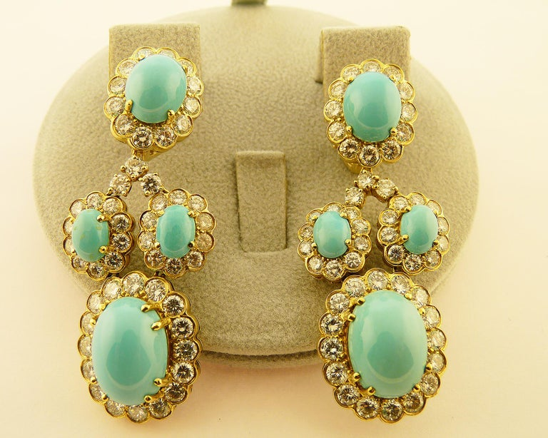 Turquoise and Diamond 18 Karat Yellow Gold Set For Sale 1