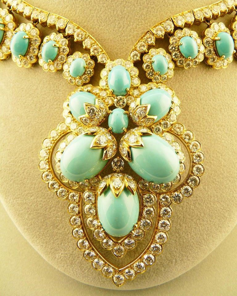 Turquoise and Diamond 18 Karat Yellow Gold Set For Sale 2