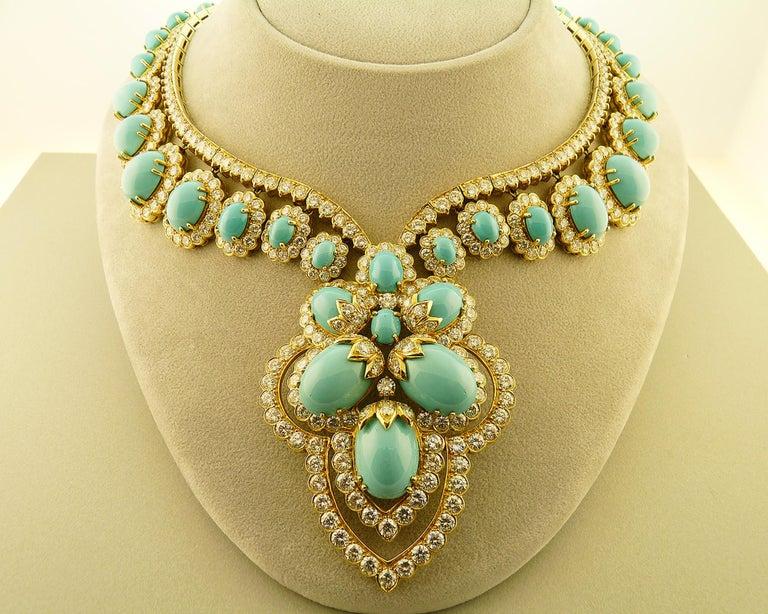 Turquoise and Diamond 18 Karat Yellow Gold Set For Sale 3