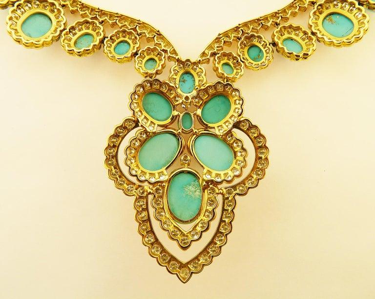 Turquoise and Diamond 18 Karat Yellow Gold Set For Sale 4
