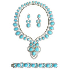 Turquoise and Diamond 18 Karat Yellow Gold Set