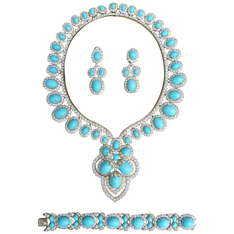 Turquoise and Diamond 18 Karat Yellow Gold Set For Sale