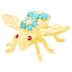 Turquoise and Diamond Bee Brooch by Rosenthal