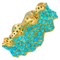Turquoise and Diamond Contemporary Yellow Gold Bangle
