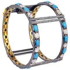 Turquoise and Diamond Cuff