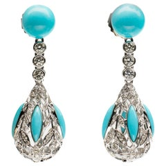 Turquoise and Diamond Drop 18 Karat Earrings