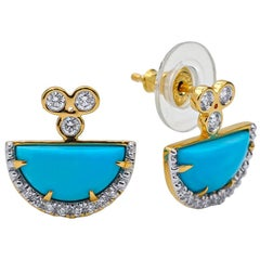Turquoise and Diamond Earrings, 18 Karat Yellow Gold