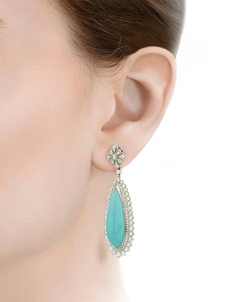 Rose Cut Turquoise and Diamond Earrings by Tiffany & Co. For Sale