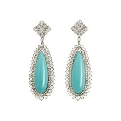 Turquoise and Diamond Earrings by Tiffany & Co.