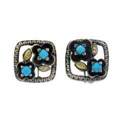 Turquoise and Diamond Flower Button Earrings Sterling Silver Gold Stambolian