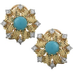 Turquoise and Diamond Flower Stud Earrings