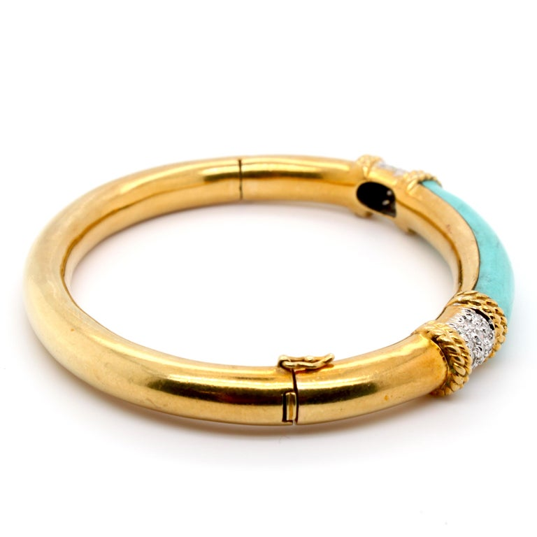 Turquoise and Diamond Gold Bangle In Excellent Condition In Idar-Oberstein, DE