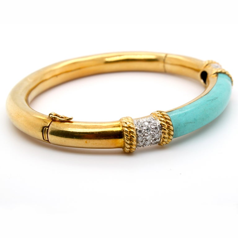 Women's Turquoise and Diamond Gold Bangle
