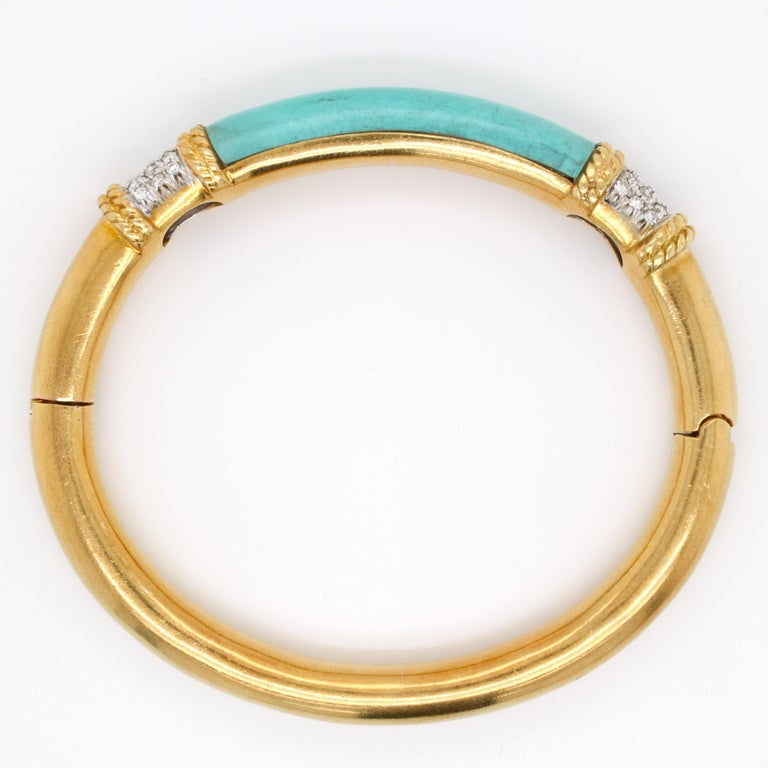 Turquoise and Diamond Gold Bangle 2