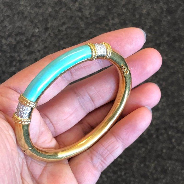Turquoise and Diamond Gold Bangle 3