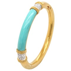 Turquoise and Diamond Gold Bangle