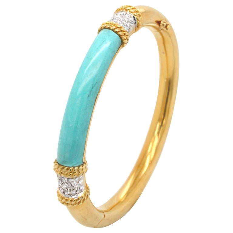 Turquoise and Diamond Gold Bangle