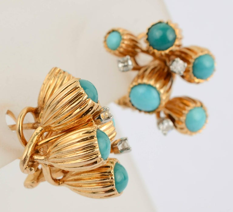 Turquoise and Diamond Gold Earrings In Excellent Condition For Sale In Darnestown, MD