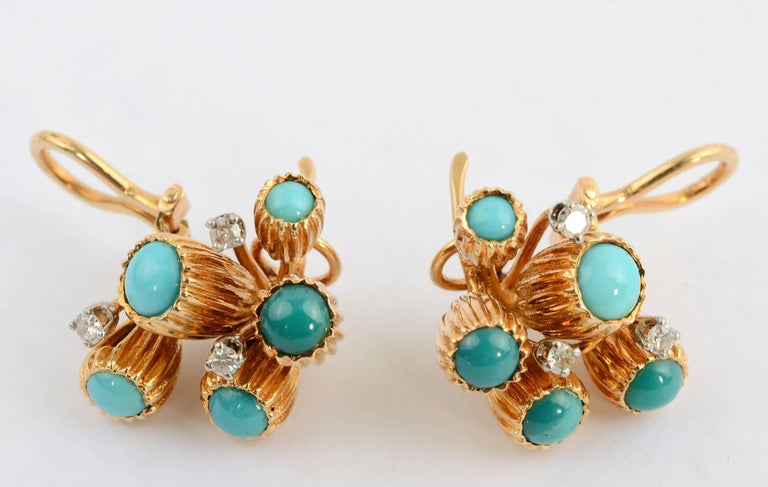 Women's or Men's Turquoise and Diamond Gold Earrings For Sale