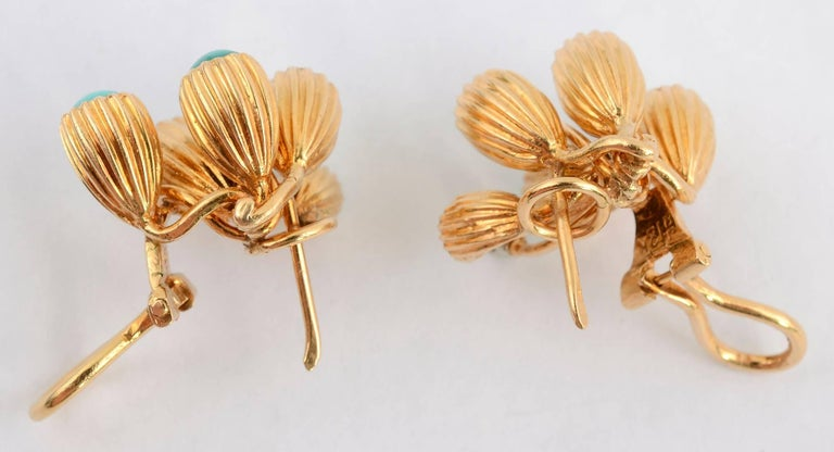Turquoise and Diamond Gold Earrings For Sale 1