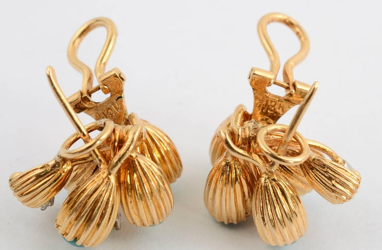 Turquoise and Diamond Gold Earrings For Sale 2