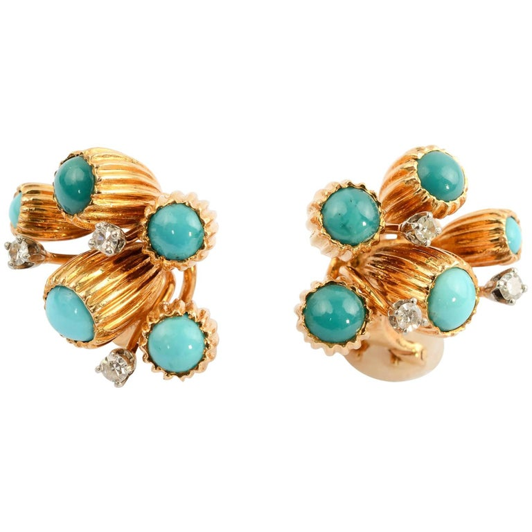 Turquoise and Diamond Gold Earrings For Sale