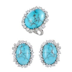 Turquoise and Diamond Gold Ring and Earring Set