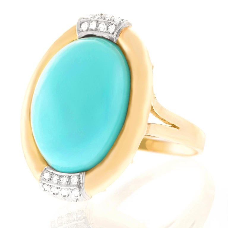 Cabochon Turquoise and Diamond Gold Ring For Sale