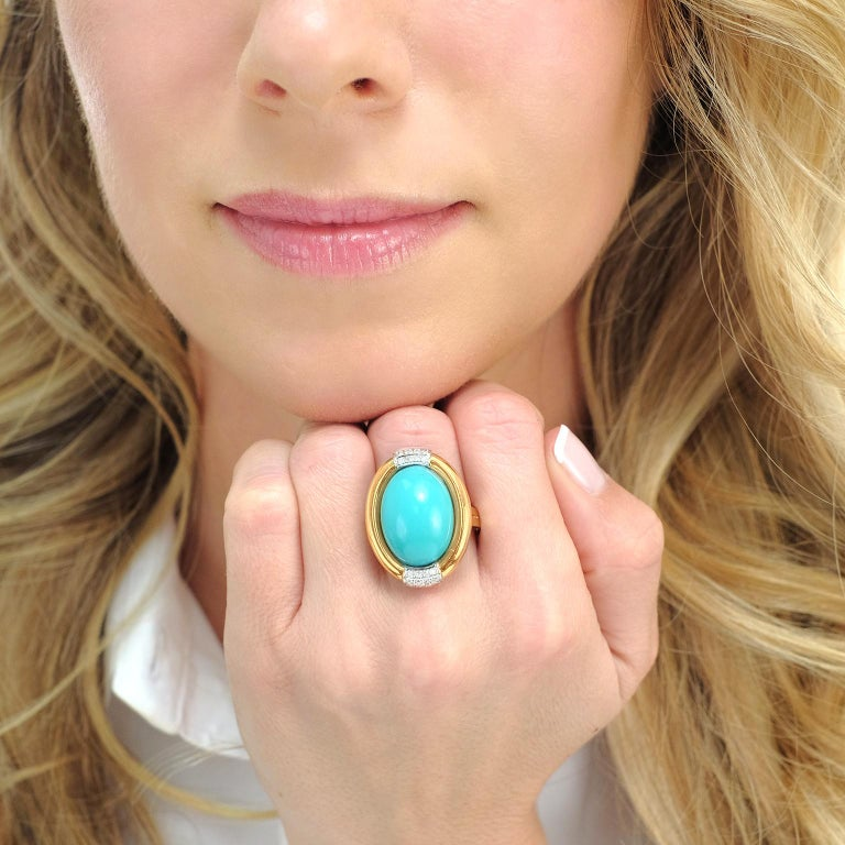 Turquoise and Diamond Gold Ring In Excellent Condition For Sale In Litchfield, CT