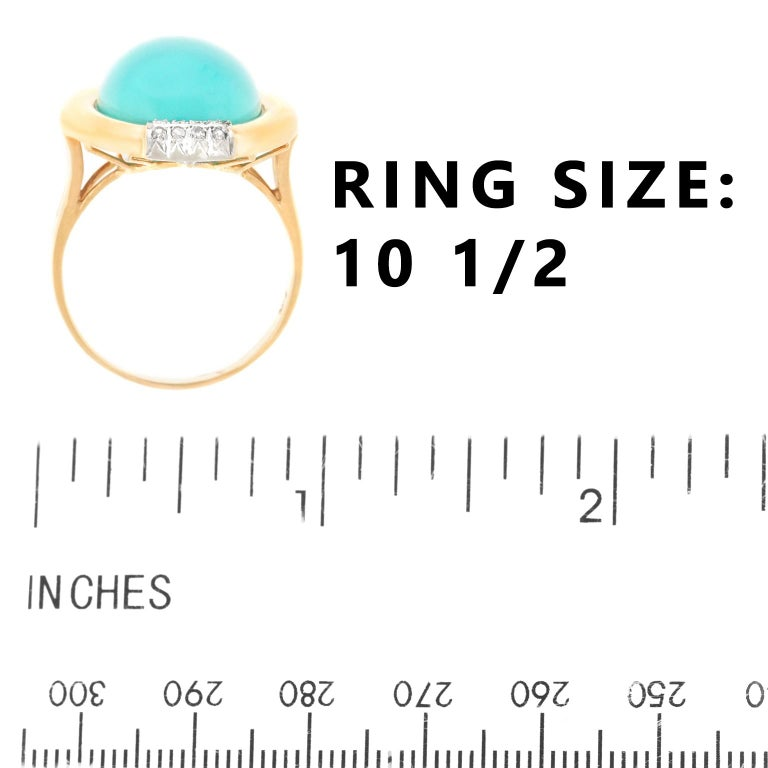 Turquoise and Diamond Gold Ring For Sale 1