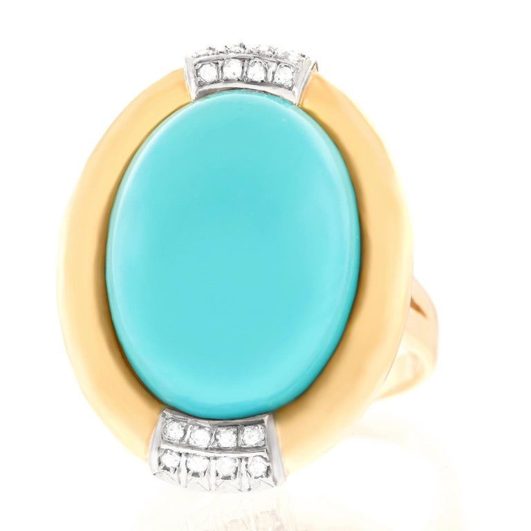 Turquoise and Diamond Gold Ring For Sale 4