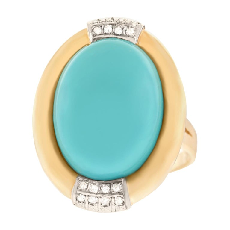 Turquoise and Diamond Gold Ring For Sale