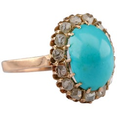 Turquoise and Diamond Halo Ring Victorian Rose Gold
