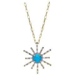 Turquoise and Diamond Necklace, 18 Karat Yellow Gold