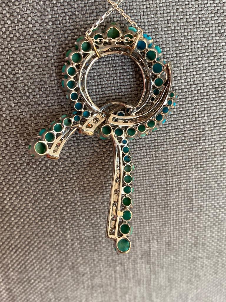 Brilliant Cut Turquoise and Diamond Necklace, clarity VS1/VS2, Color F For Sale