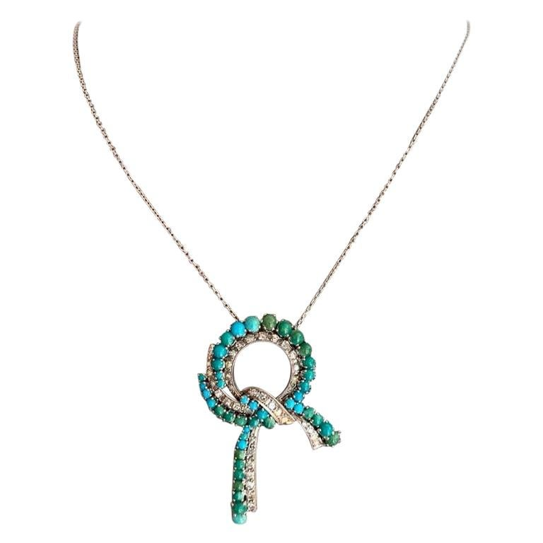 Turquoise and Diamond Necklace, clarity VS1/VS2, Color F For Sale