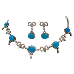 Turquoise and Diamond Necklace with Matching Earrings 18 Karat White Gold