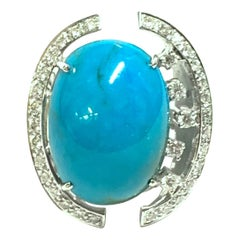 Turquoise and Diamond Open Work Cocktail Ring