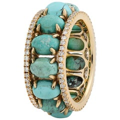 Turquoise and Diamond 'Pacific Moons' Eternity Ring in 18 Karat Gold