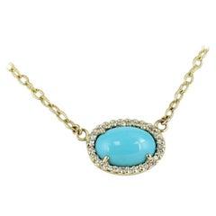 Turquoise and Diamond Pendant Set in 14 Karat Yellow Gold