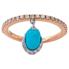 Turquoise and Diamond Ring, 18 Karat Rose Gold