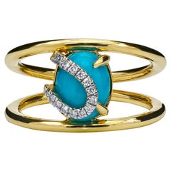 Turquoise and Diamond Ring, 18 Karat Yellow Gold