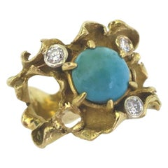 Turquoise and Diamond Ring, circa 1960
